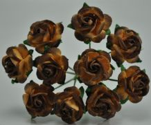 1.5cm DARK CHOCOLATE BROWN Mulberry Paper Roses